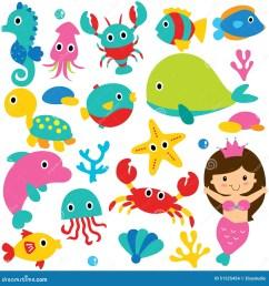 cute sea animals clip art set [ 1300 x 1390 Pixel ]