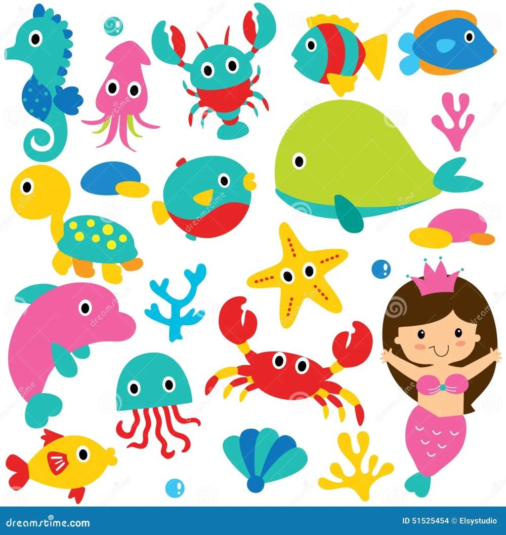 medium resolution of cute sea animals clip art set