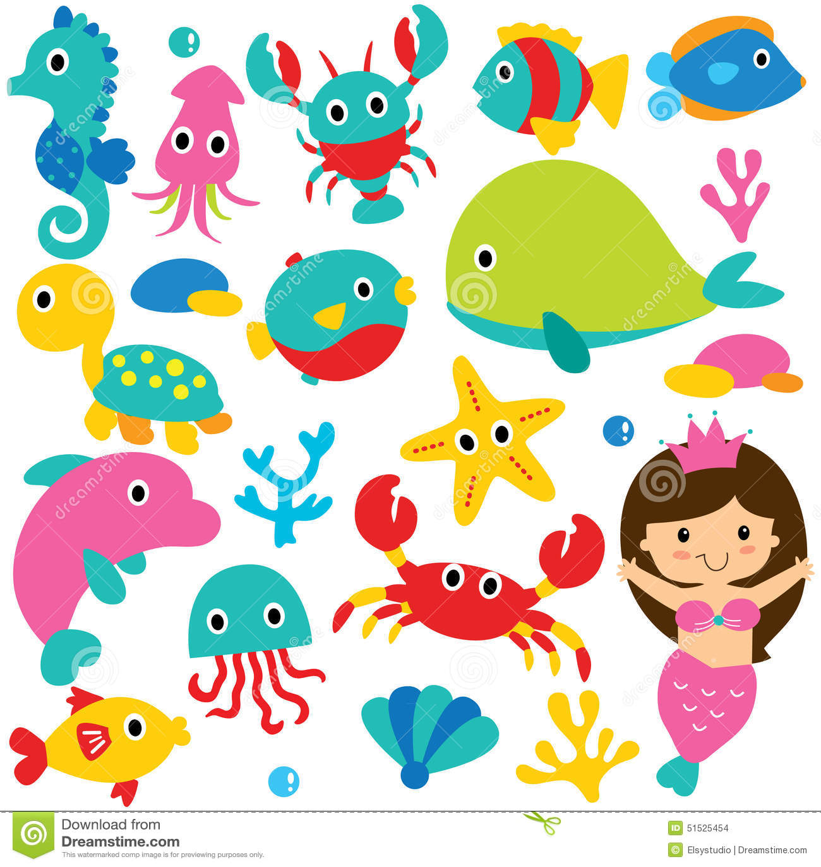 hight resolution of cute sea animals clip art set