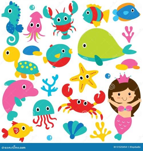 small resolution of cute sea animals clip art set