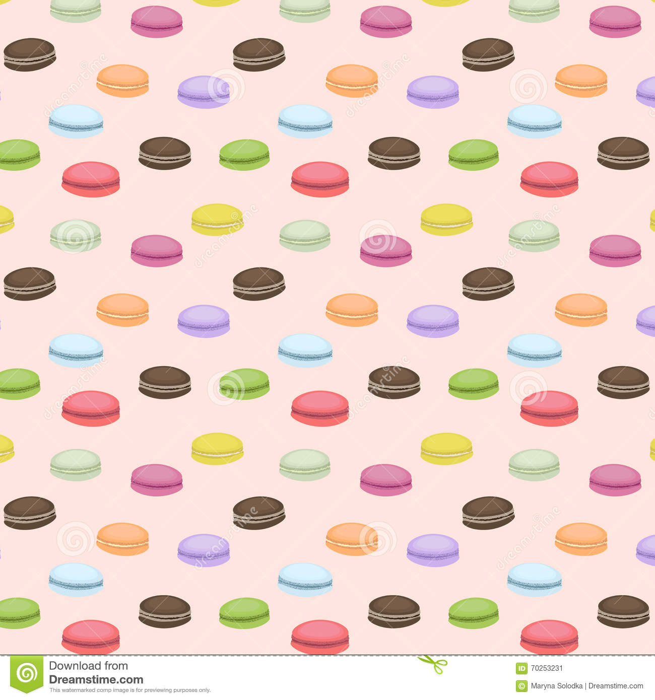 Cute Macaron Wallpaper Cute Seamless Pattern With Macaroons Vector Background