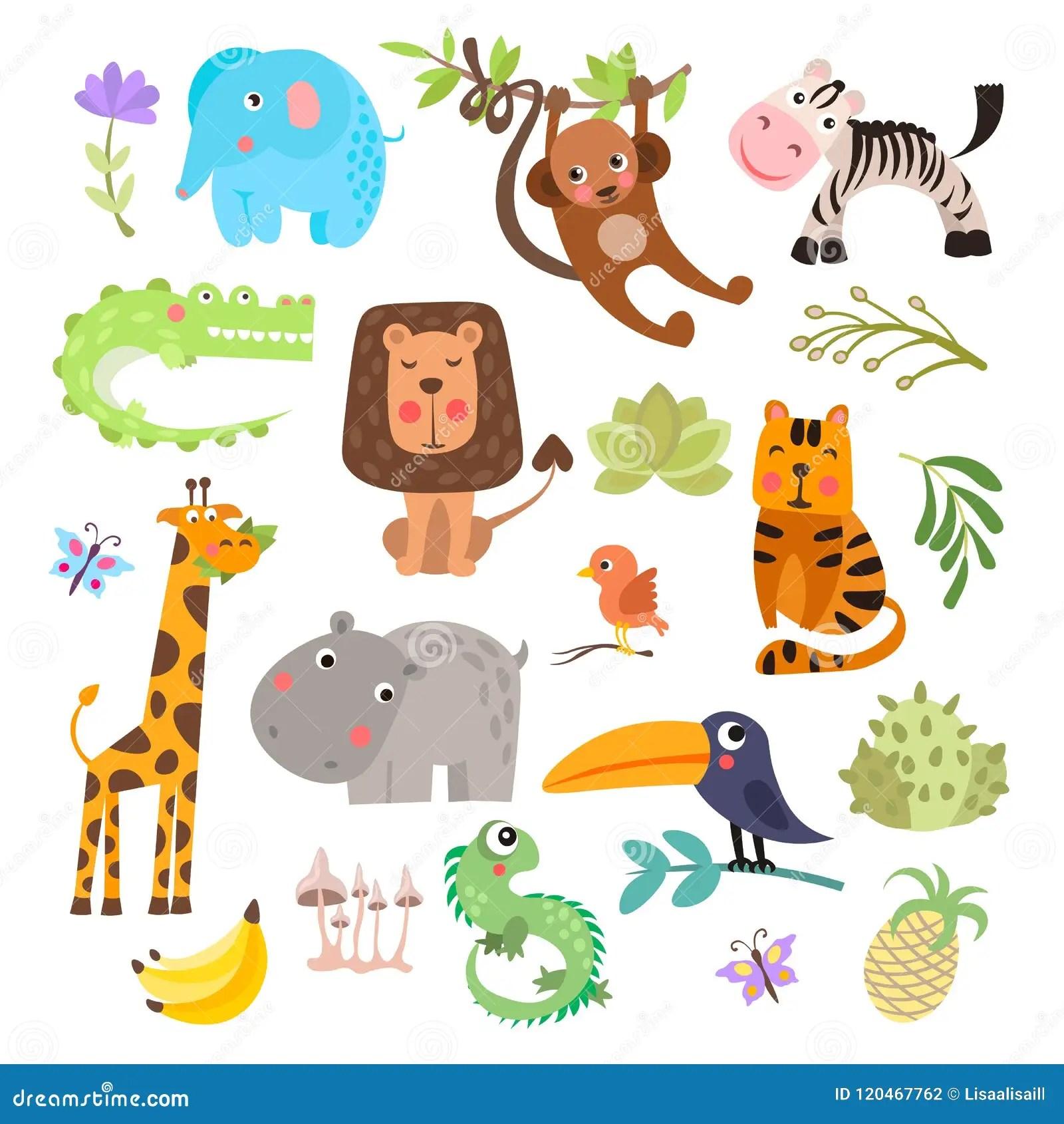 Cute Set Of Safari Animals And Flowers Savanna And Safari