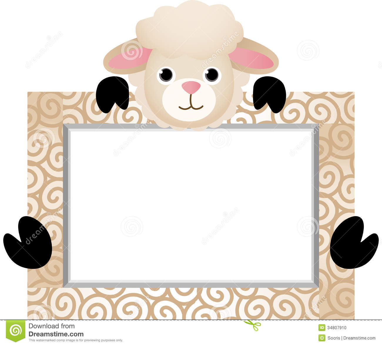 Cute Sheep With Bank Label Stock Vector Illustration Of