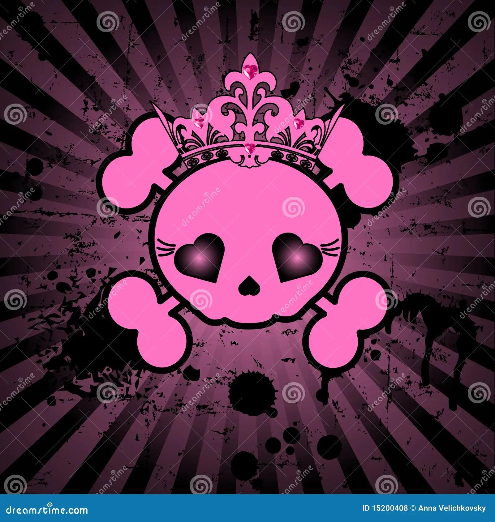 Cute Skeleton Girl Wallpaper Cute Skull With Crown Stock Vector Illustration Of