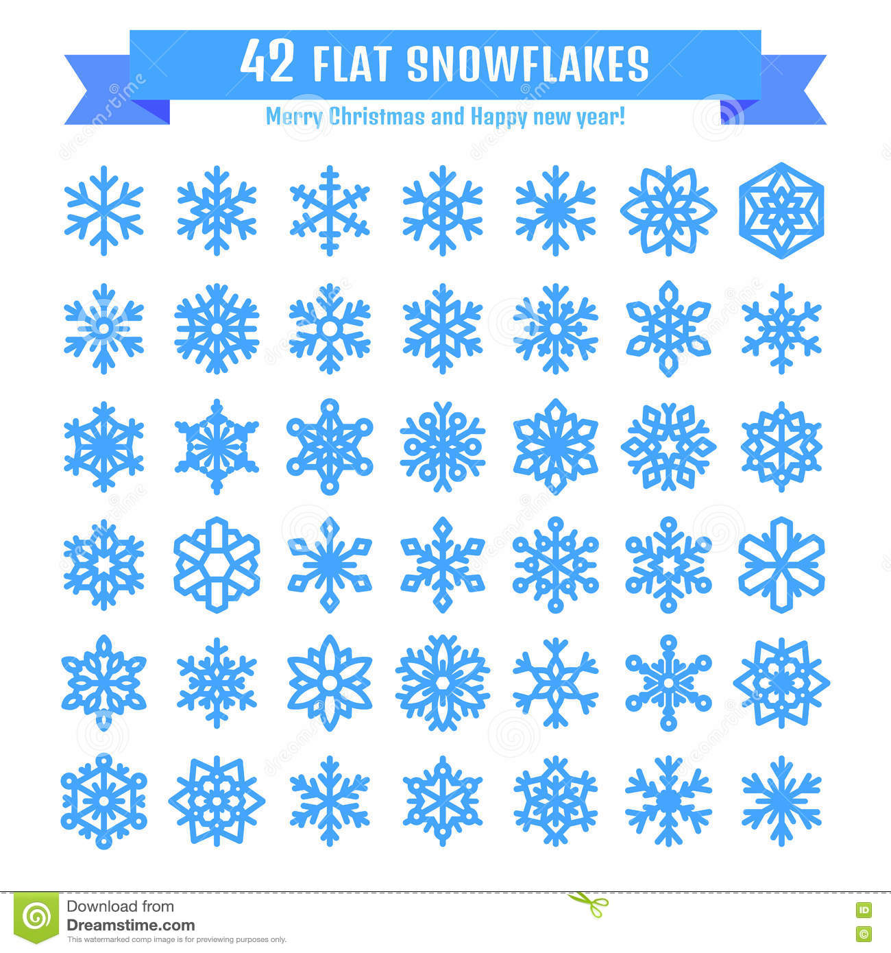cute snowflake collection isolated
