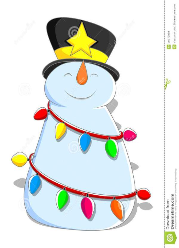 Cute Snowman - Christmas Vector Illustration Royalty Free
