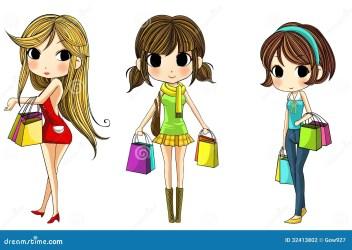 cute cartoon shopping stylish vector create illustration