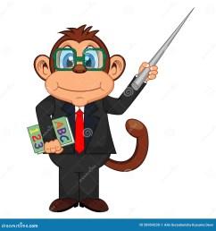 cute teacher monkey cartoon [ 1300 x 1390 Pixel ]