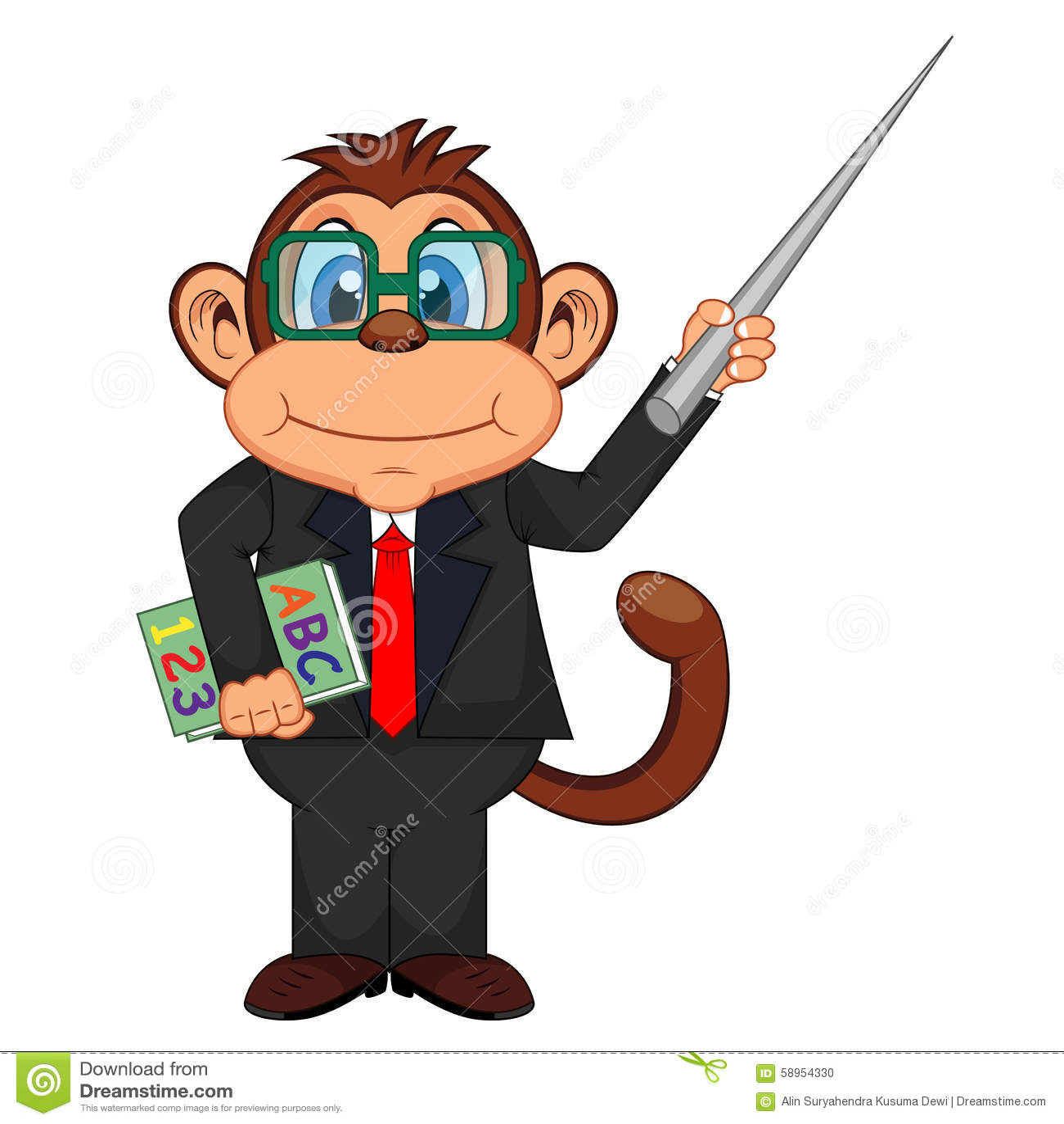 hight resolution of cute teacher monkey cartoon