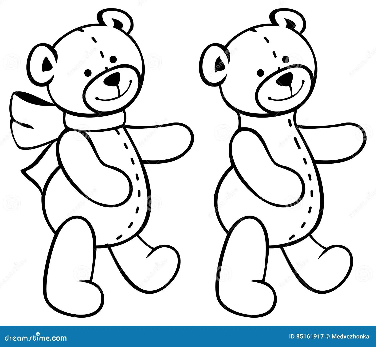 Cute Teddy Bears. Children Toys. Raster Clip Art. Stock