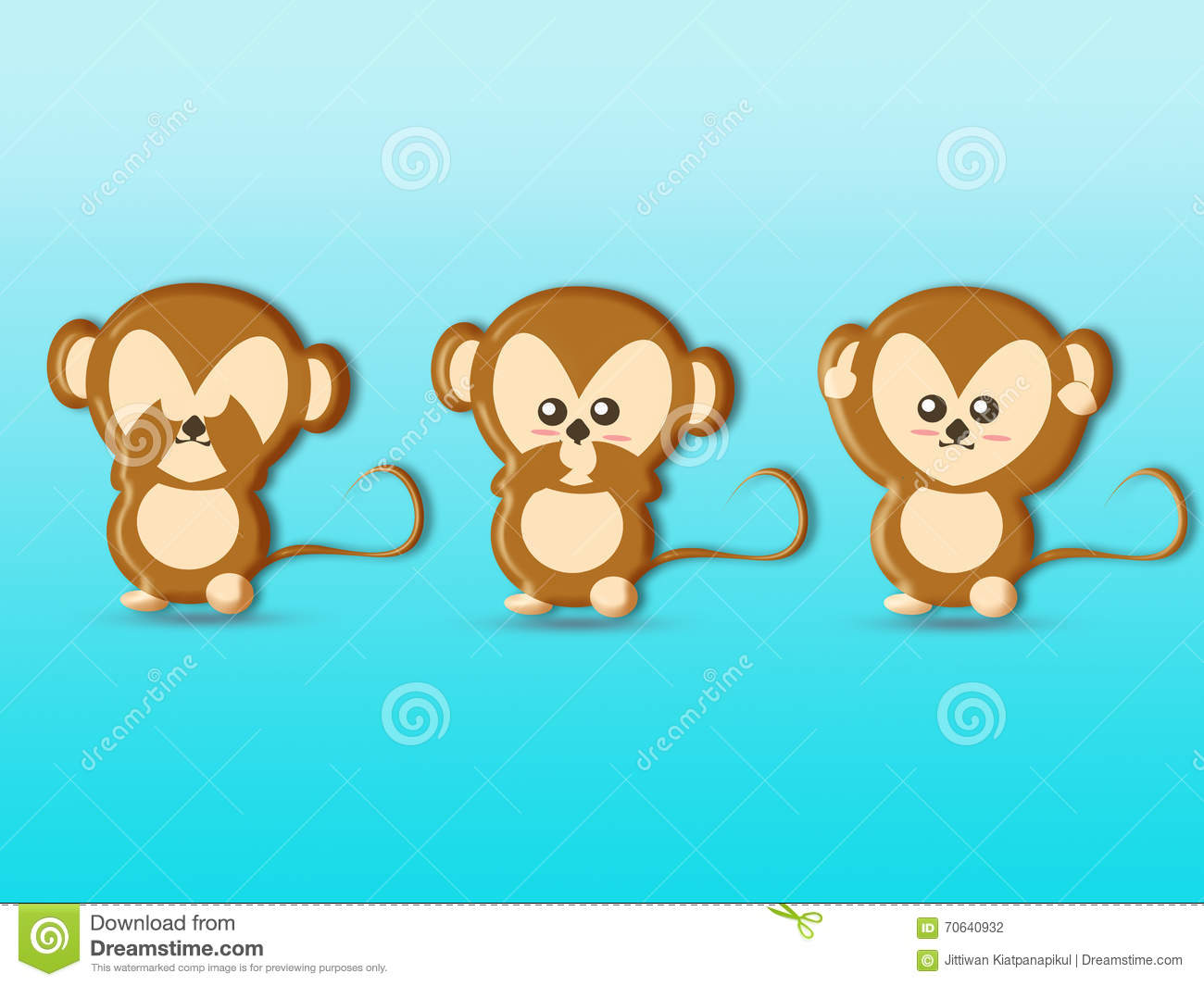 Cute Three Wise Monkeys Cartoons Background Royalty Free