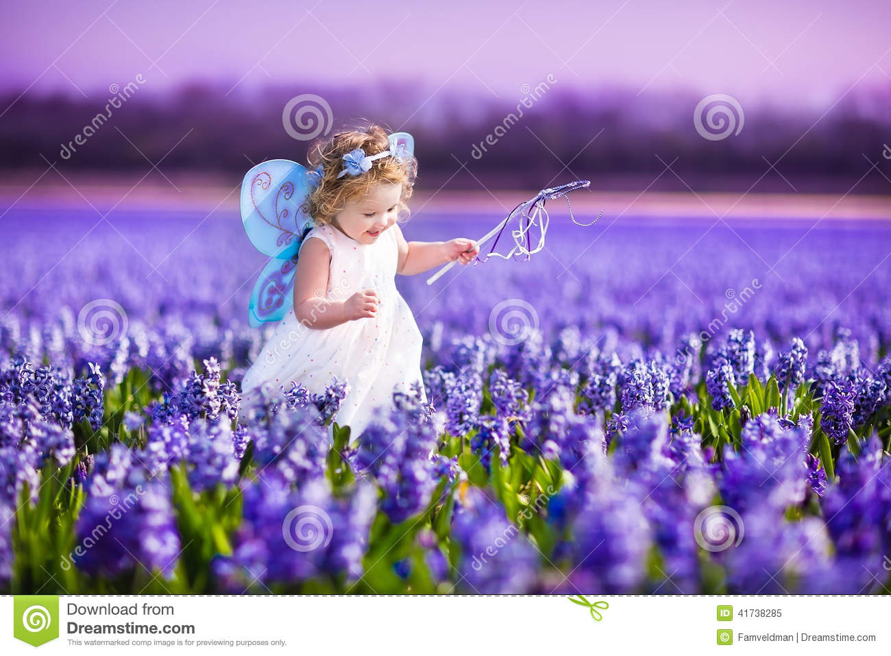 Cute Baby Girl Child Wallpaper Cute Toddler Girl In Fairy Costume In A Flower Field Stock