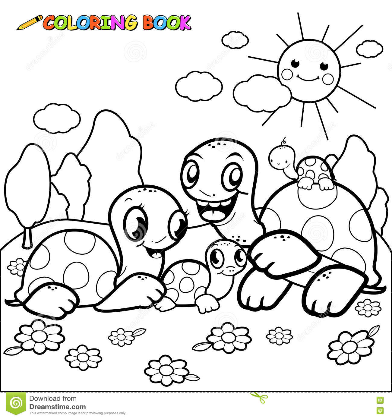 Cute Turtle Family Coloring Book Page Stock Vector