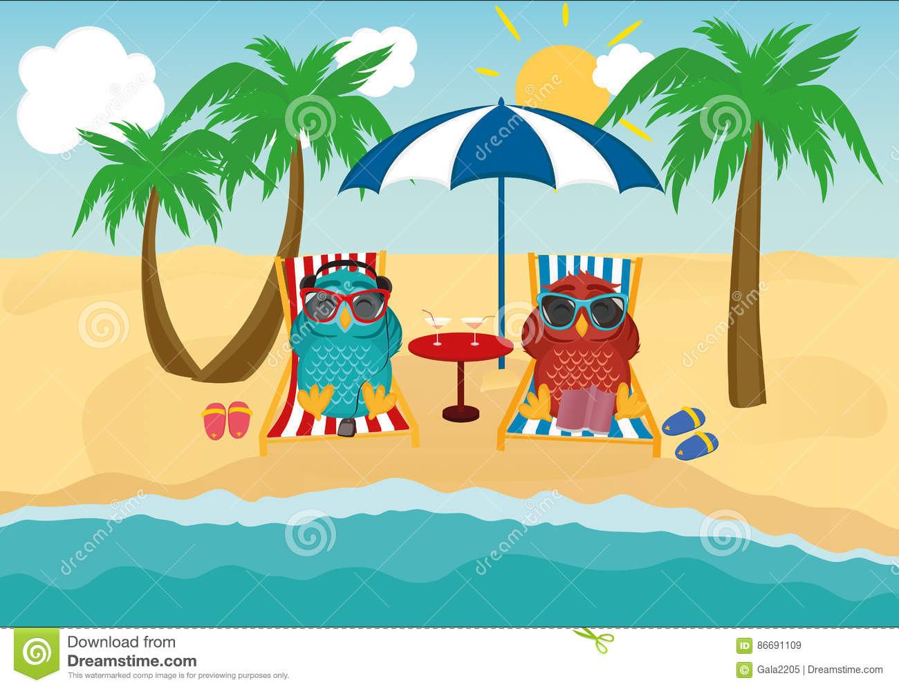 lay down beach chairs black wooden chair owls couple under umbrella vector illustration