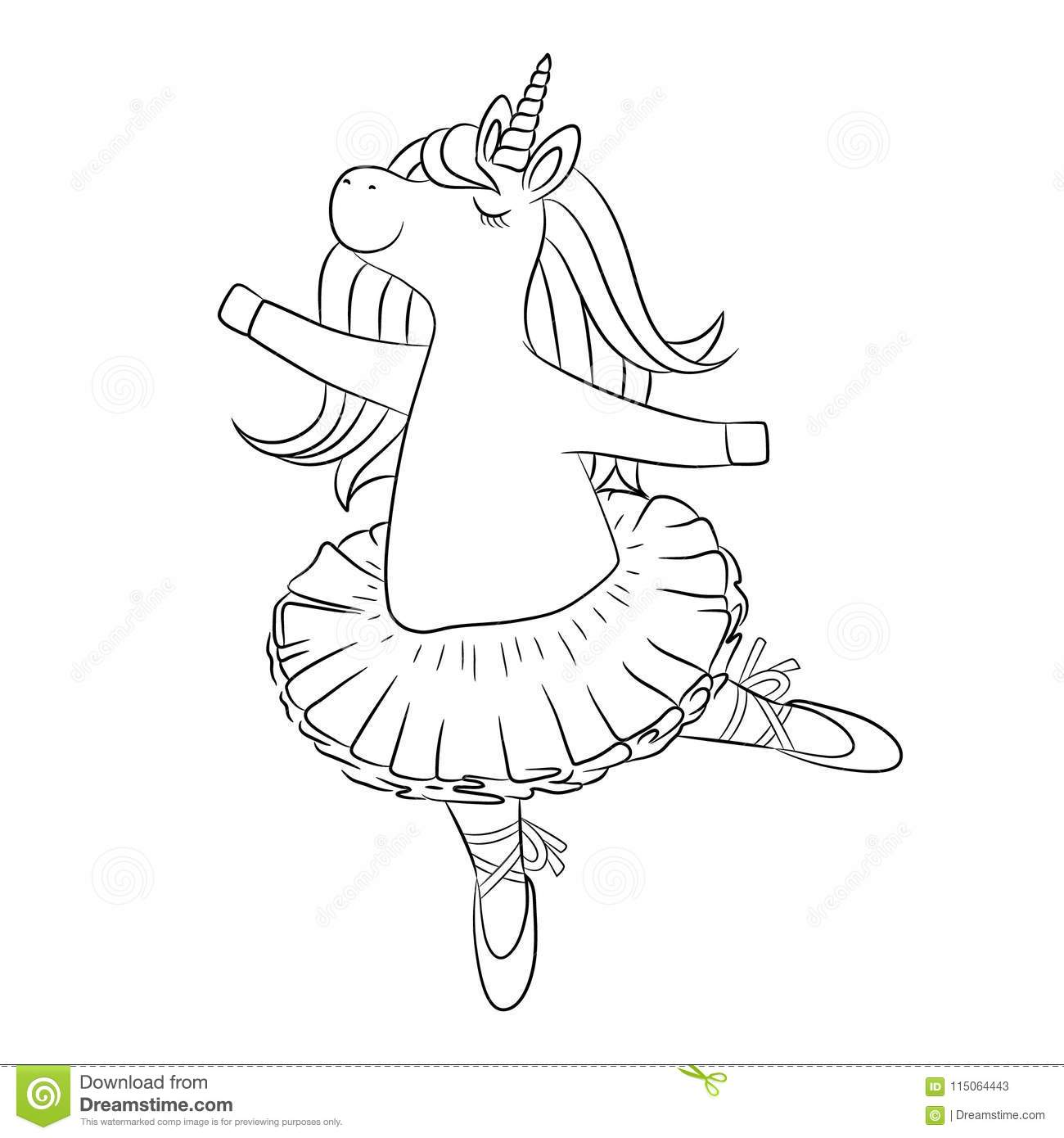 Cute Unicorn Ballerina Dancing Outline Drawing Stock