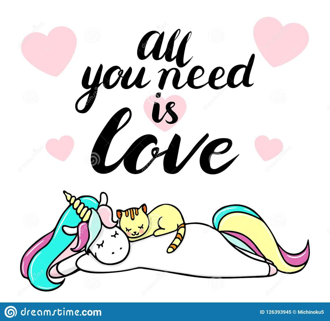 Download Cute Unicorn With A Cat. All You Need Is Love Text Stock ...