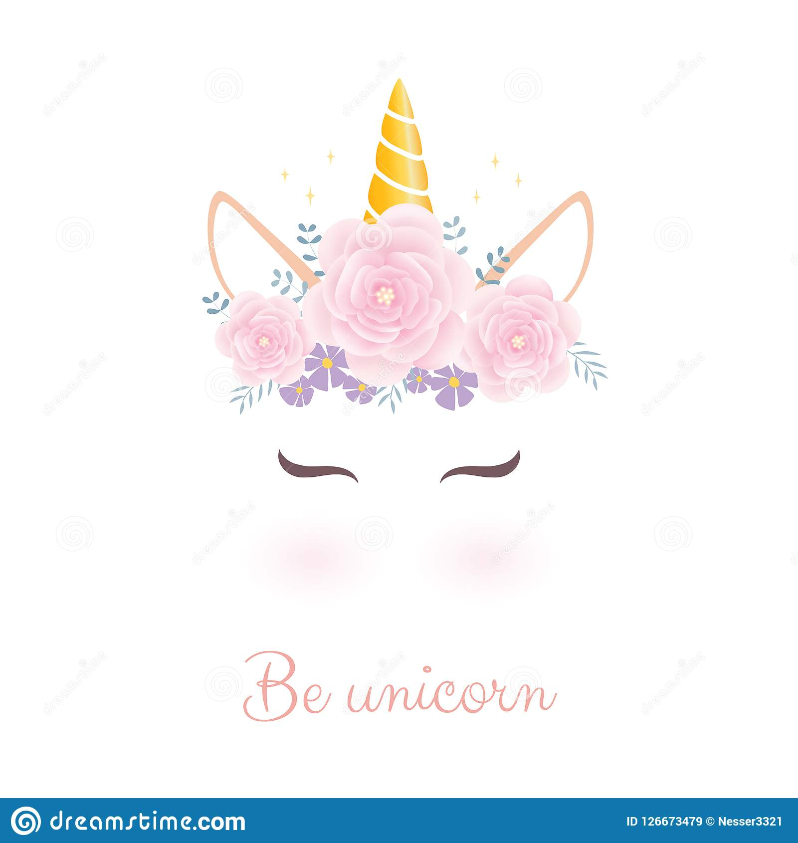 Cute Unicorn Head With Flower Crown Stock Vector