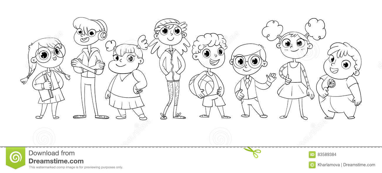 Cute variety of children stock vector. Image of many