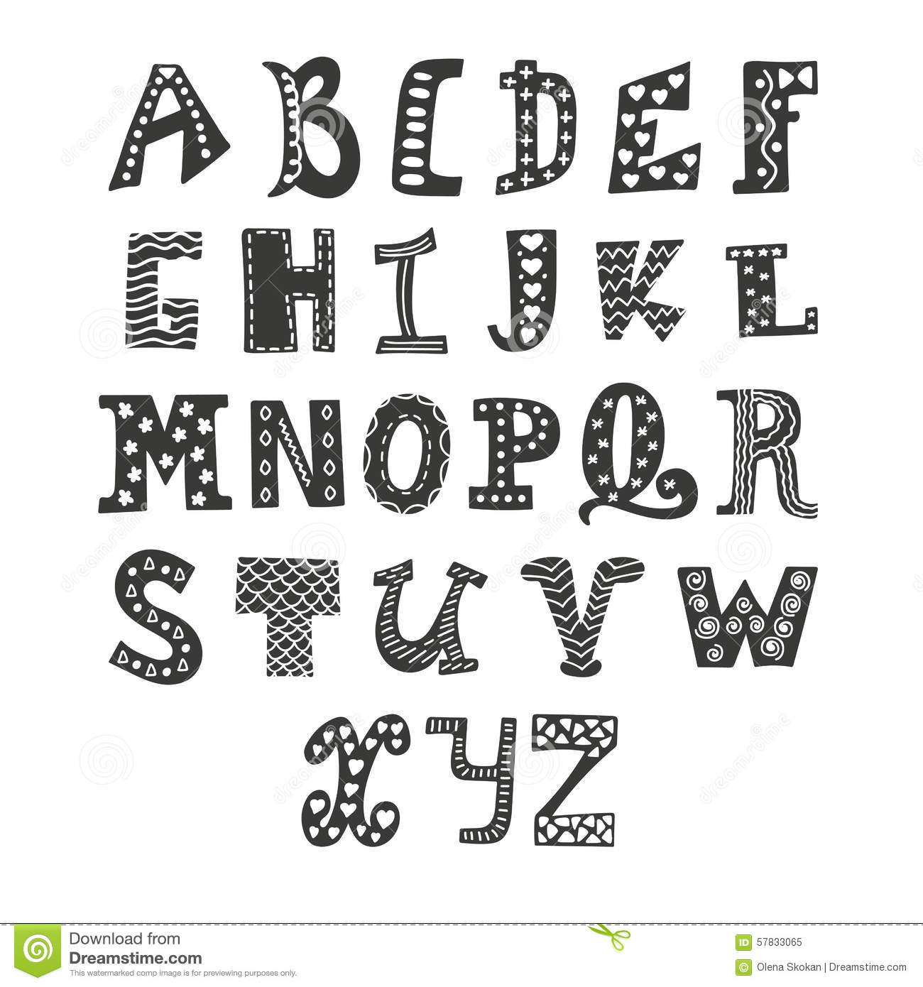 Cute Vector Alphabet On White Background Hand Drawn Le