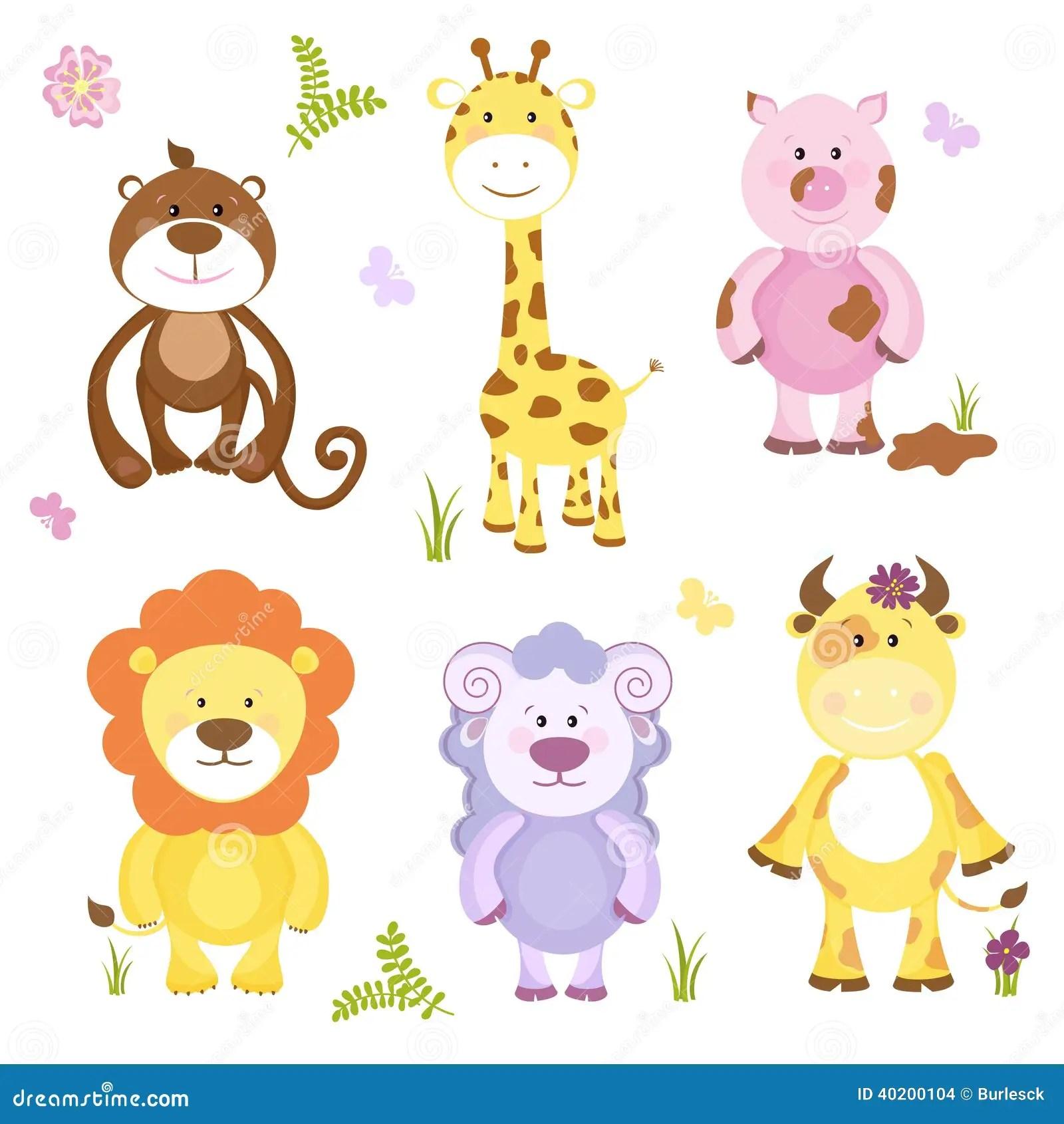 Cute Vector Cartoon Animal Set Stock Vector