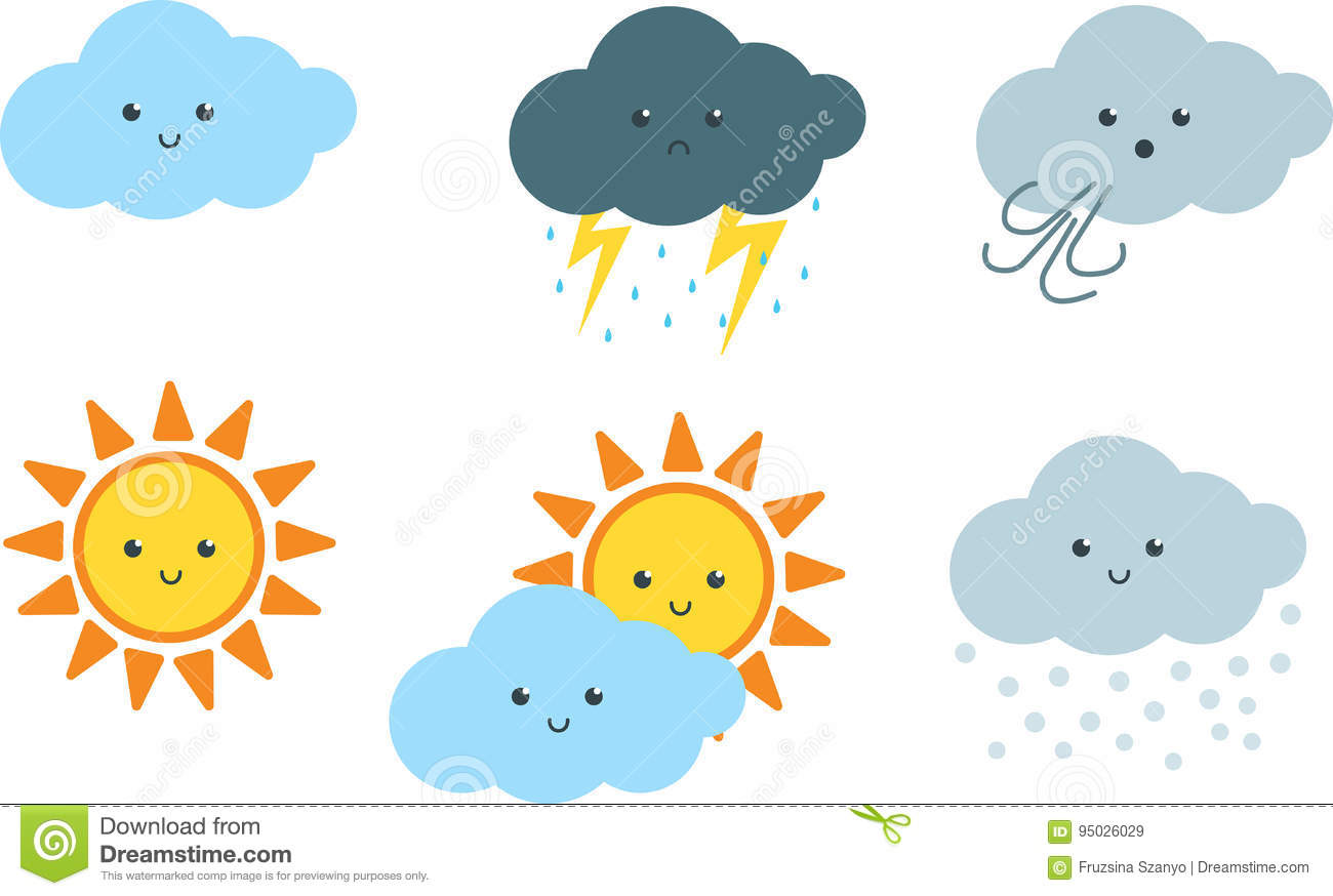 hight resolution of the clipart set includes 6 vector illustrations of the sun and clouds