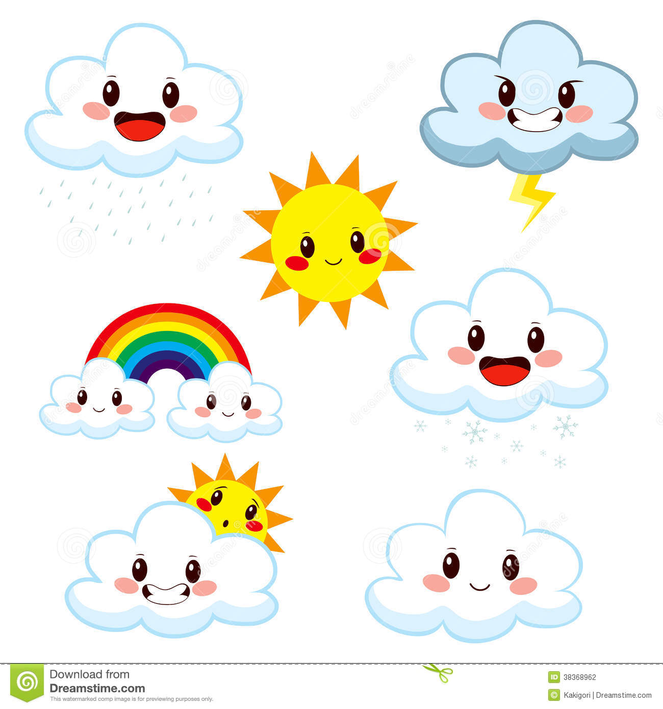 Cute Weather Elements Collection Stock Photography