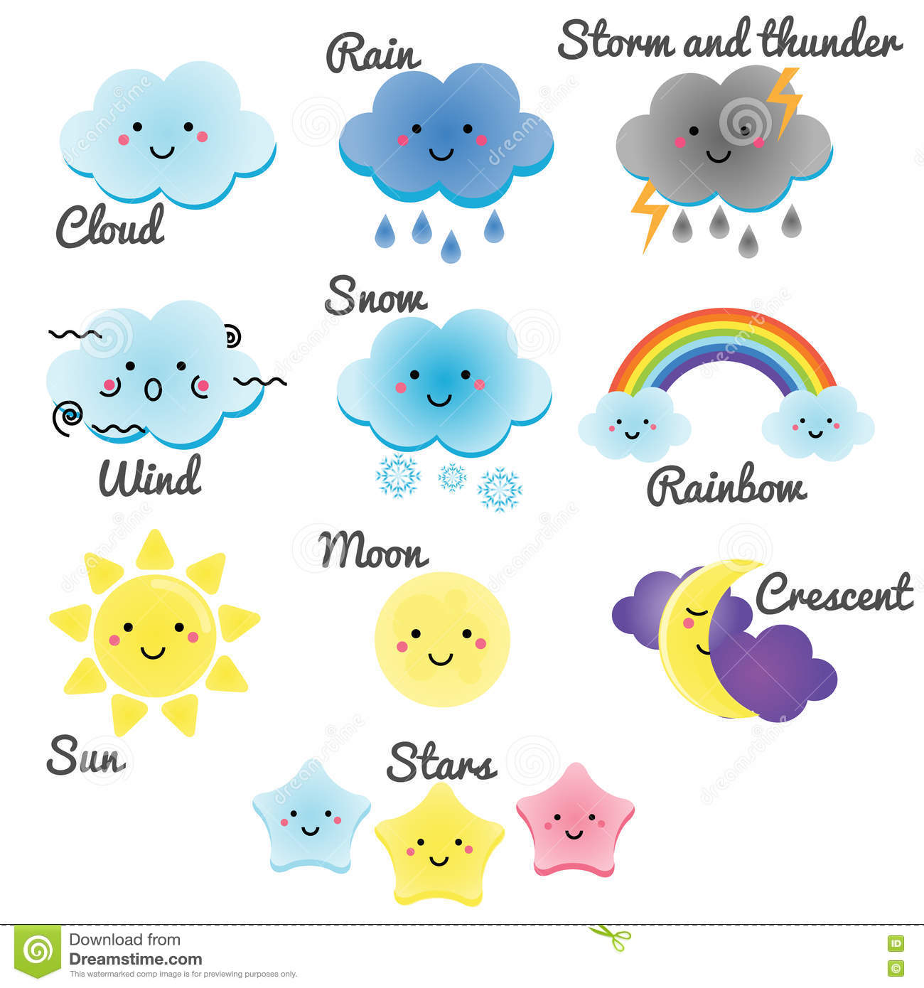 Cute Weather And Sky Elements Kawaii Moon Sun Rain And