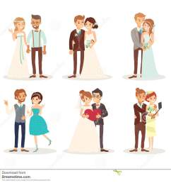 cute wedding couple bride and groom cartoon [ 1300 x 1204 Pixel ]