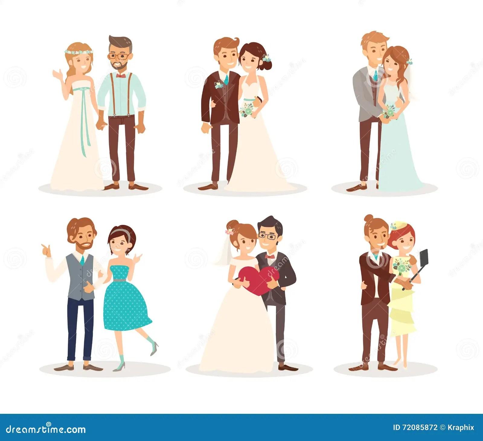 hight resolution of cute wedding couple bride and groom cartoon