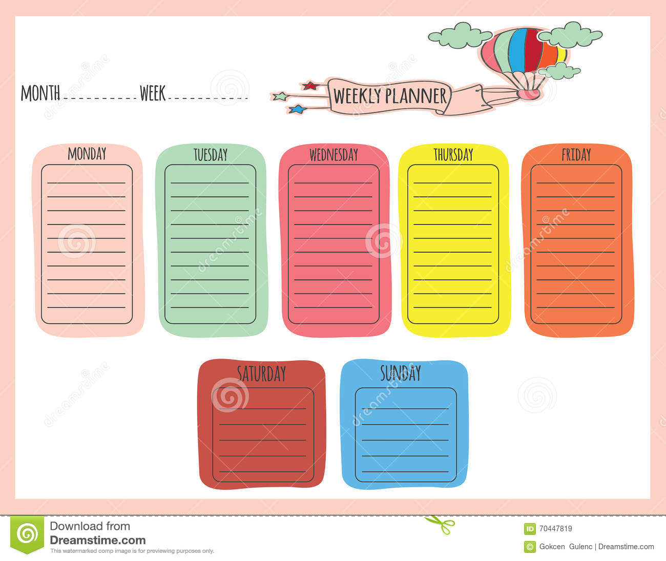 Cute Weekly Planner Stock Vector Illustration Of Planner