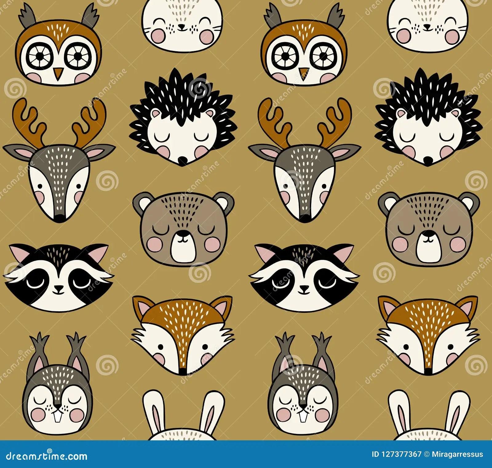 cute woodland animal heads