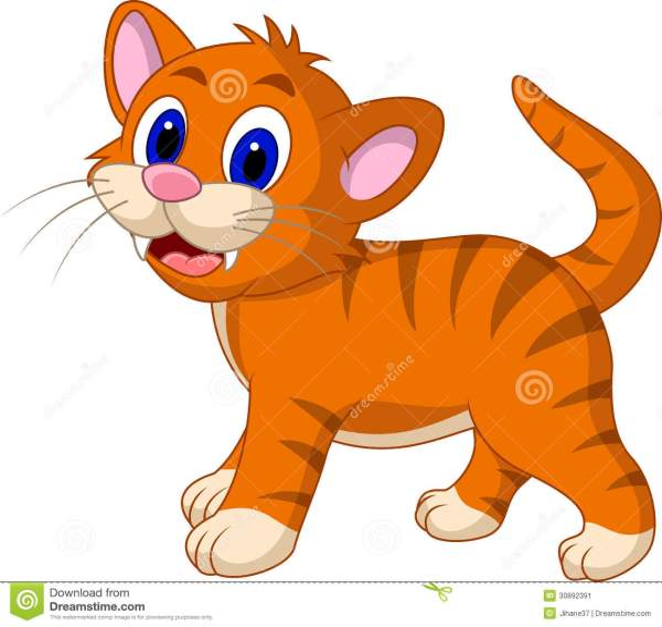 Cute Yellow Cat Cartoon Stock Illustration. Illustration Of Feline - 30892391