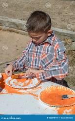 paints pumpkin boy fall young halloween