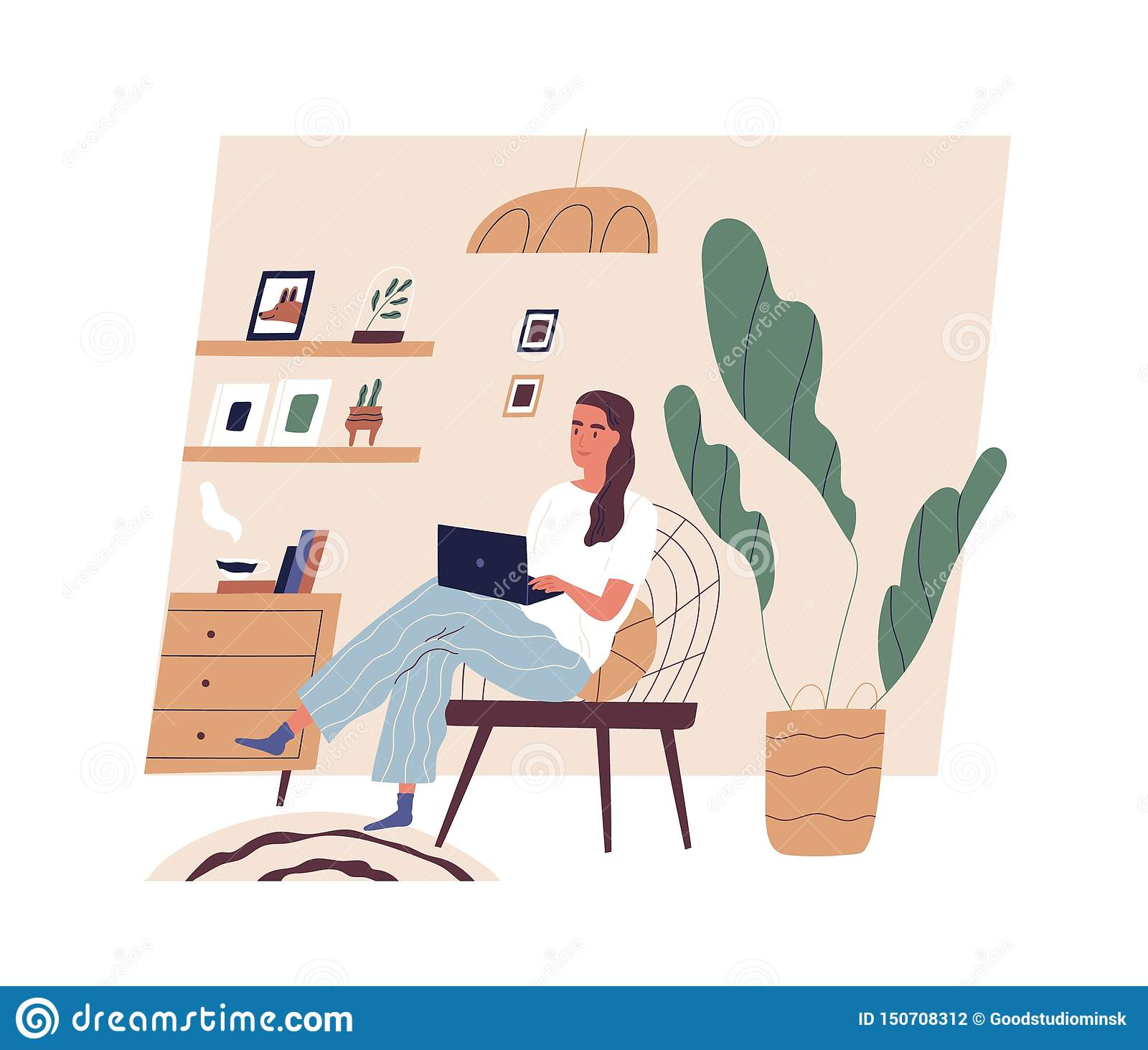Cute Young Woman Sitting On Comfy Chair With Laptop Computer