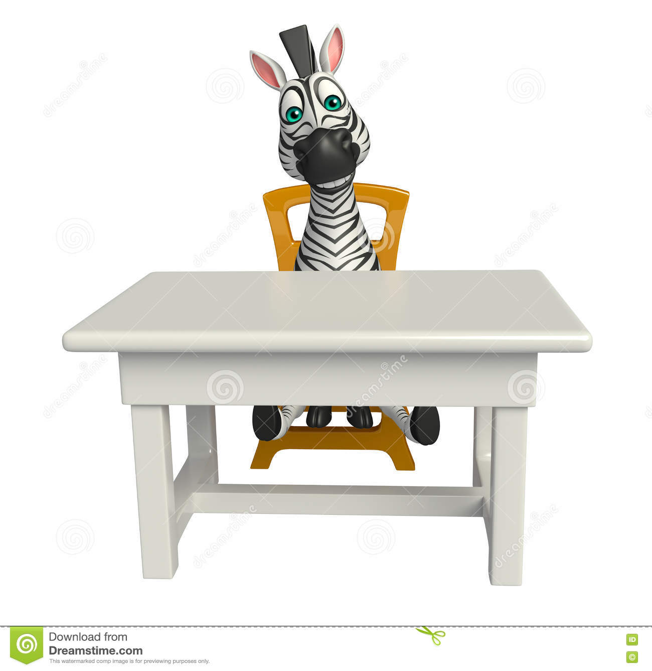 Zebra Desk Chair Cute Zebra Cartoon Character With Table And Chair Stock