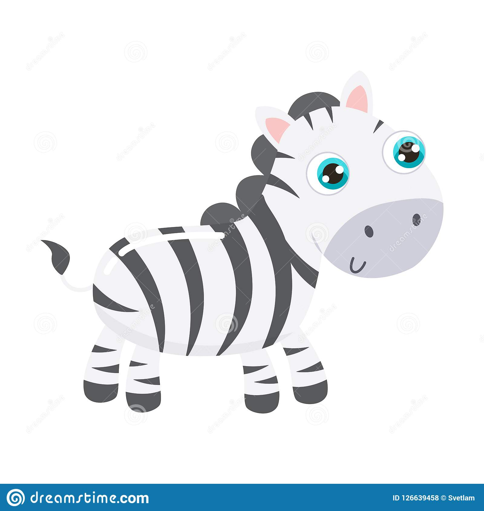 Vector Illustration Of An Happy Cute Zebra Horse Cartoon
