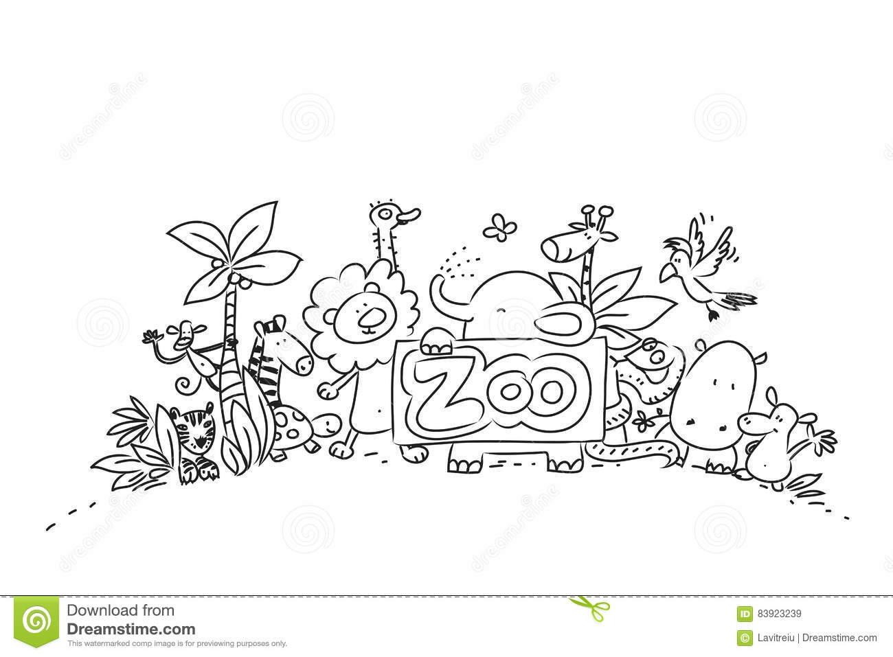 Cute Zoo Animals Stock Vector Illustration Of Children