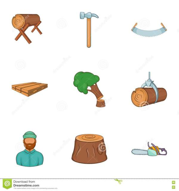 Cutting Trees Icons Set Cartoon Style Stock Vector