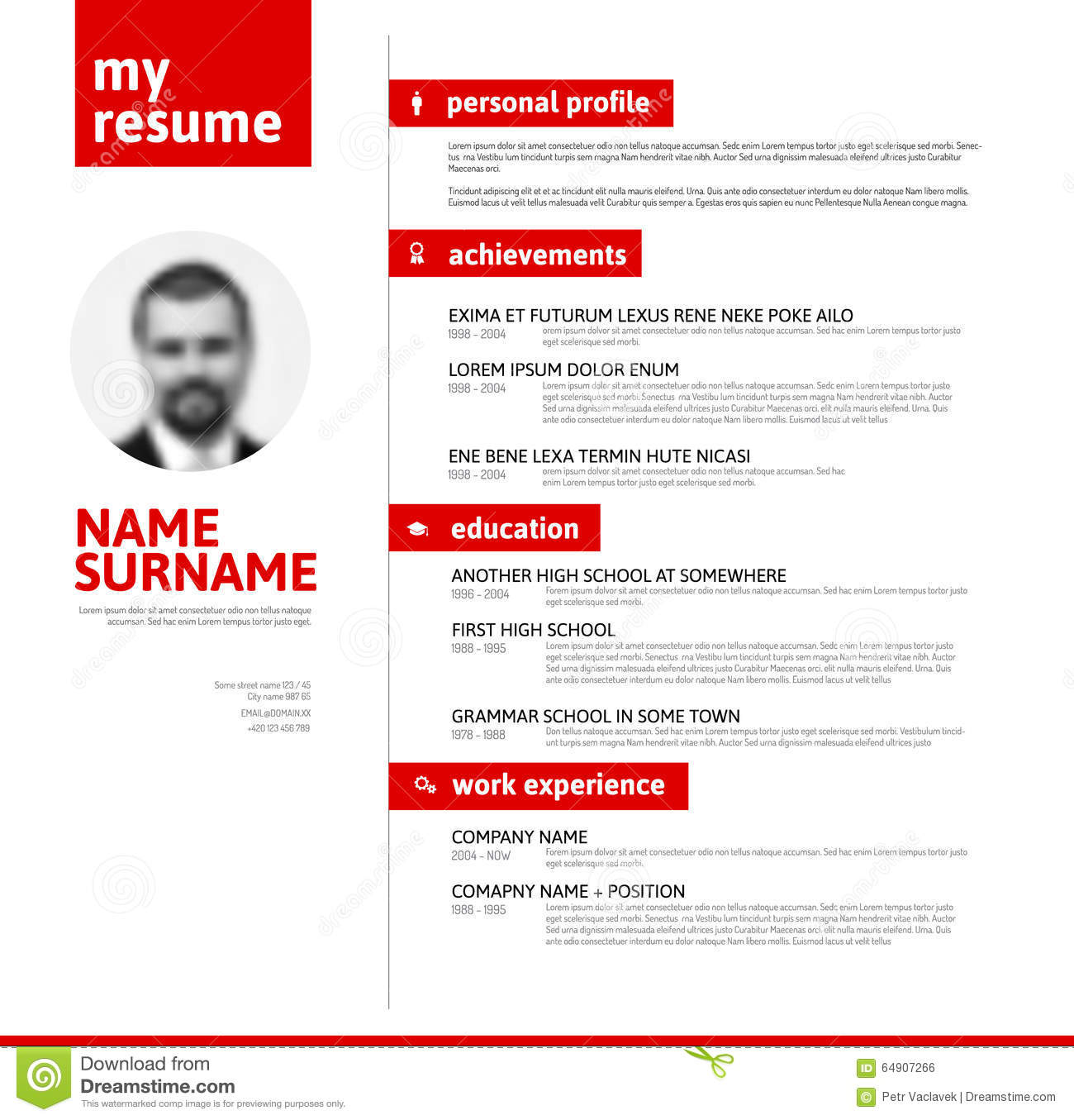 Cv  Resume Template With Nice Typography Stock Illustration  Illustration of interview
