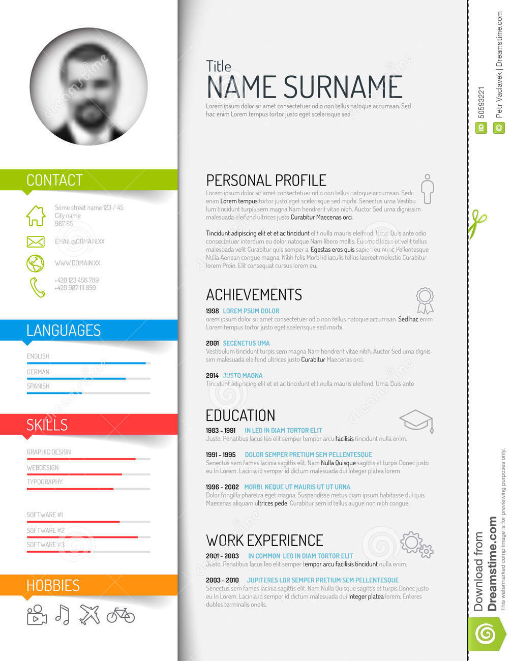 Cv Resume Template Stock Vector Image 50593221