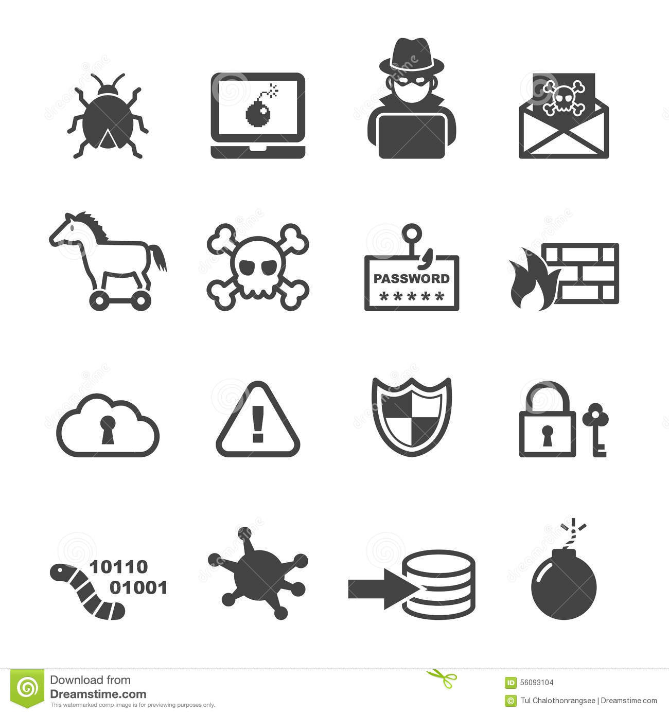 Cyber Crime Icons Stock Vector Illustration Of Digital