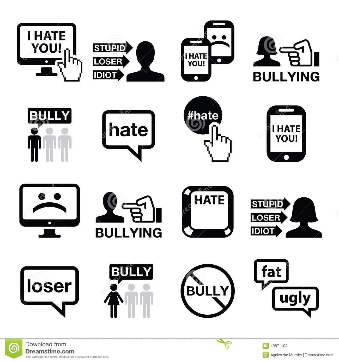 hight resolution of cyberbullying vector icons set