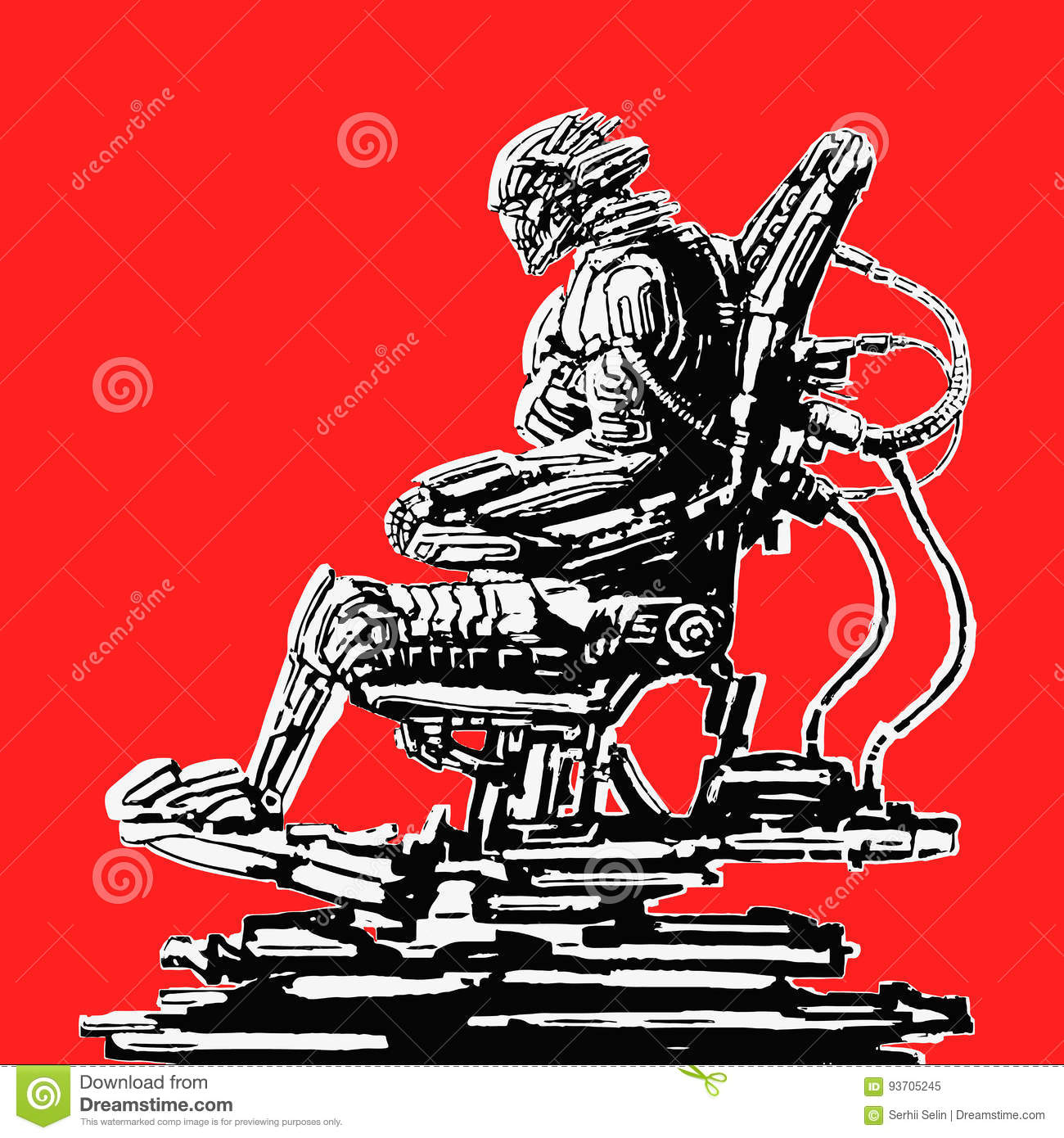 iron throne chair cover adirondack cushion cyborg pilot sits in suit on his vector