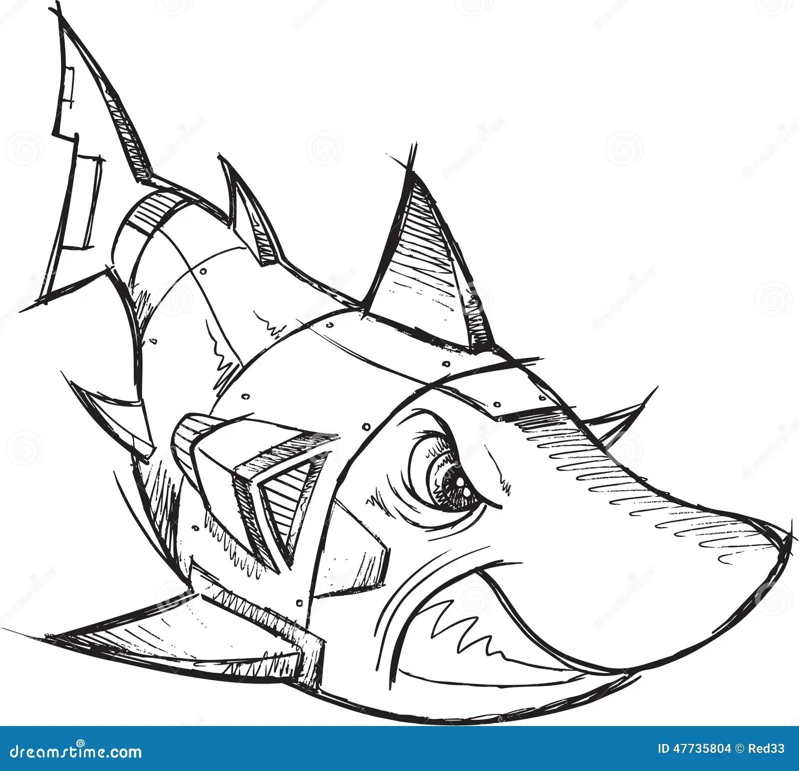 Cyborg Robot Shark Sketch Stock Vector