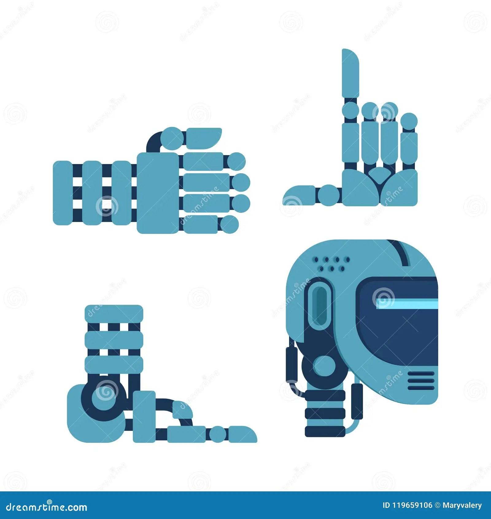 Cyborg Set Of Body Parts Robot Head And Hand Leg