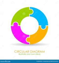 4 parts cycle diagram template vector illustration [ 1300 x 1390 Pixel ]