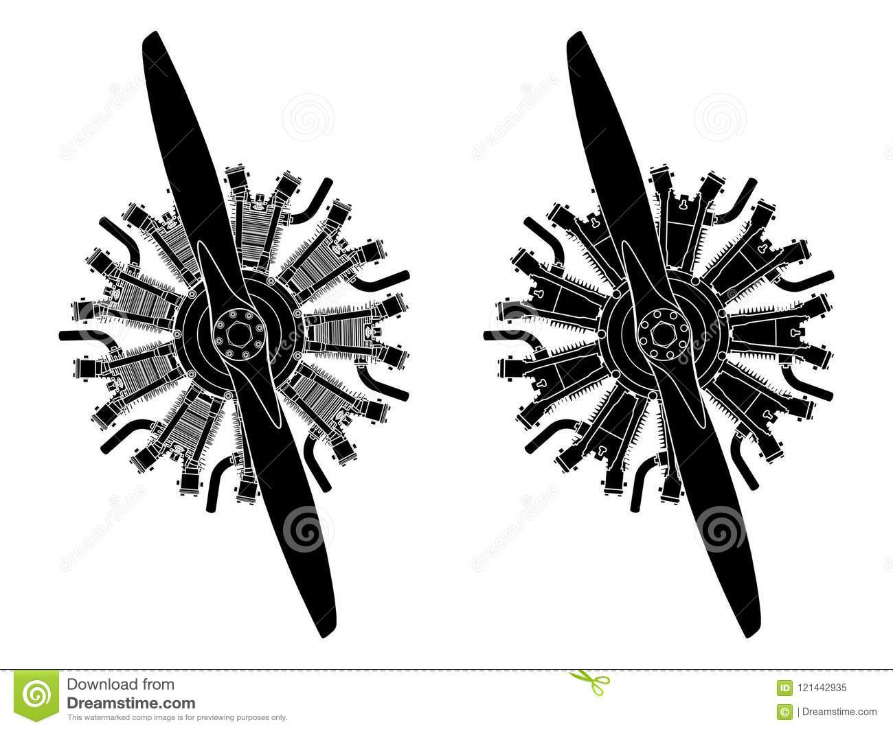 9 Cylinder Radial Engine Colored Black Fill Only Stock
