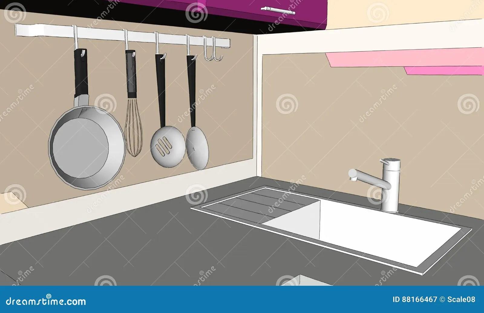 kitchen corner sinks themed decor 3d紫色和棕色厨房角落略图与水槽和墙壁罐机架的库存例证 插画包括有逗人 3d紫色和棕色厨房角落略图与水槽和墙壁罐机架的