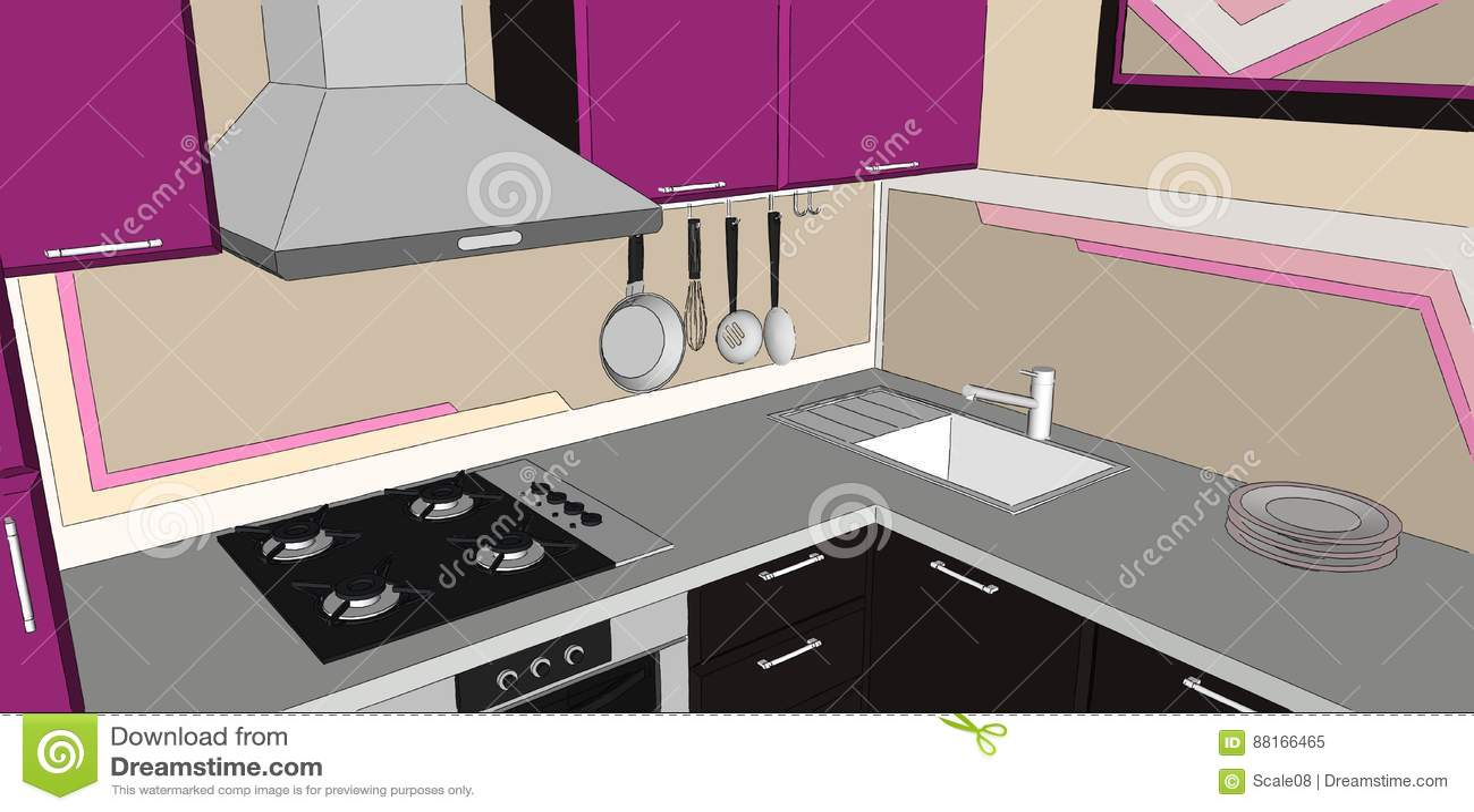 kitchen corner sinks pantry shelves 3d紫色和棕色厨房角落的例证与发烟敞篷 气体滚刀 水槽和墙壁罐的折磨 关闭与发烟敞篷 水槽和墙壁罐机架的现代紫色和棕色厨房角落内部3d例证