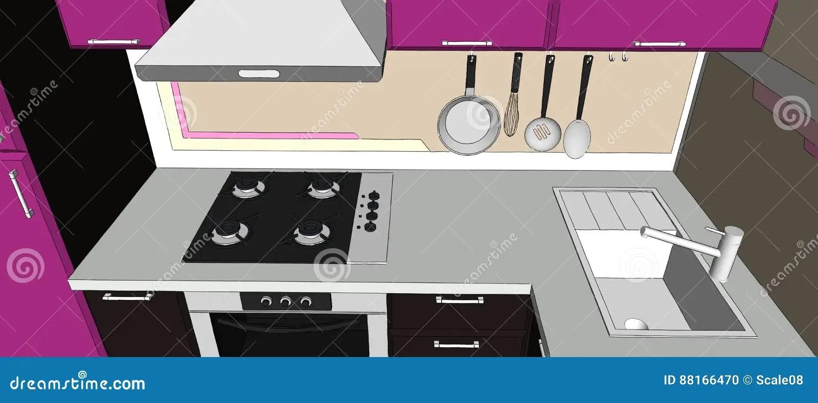 brown kitchen sink scratch dent appliances 3d紫色和棕色厨房角落的例证与装置的库存例证 插画包括有粉红色 厨具 3d紫色和棕色厨房角落的例证与发烟敞篷 厨师上面 水槽和装置的顶视图